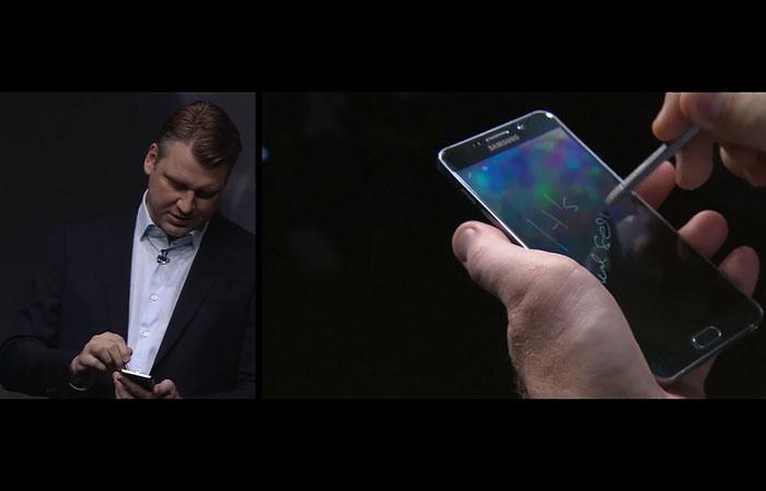 ↑갤럭시 노트5의 화면 끄고 노트하기 시연 장면(사진 출처 : 유투브 생중계 영상)