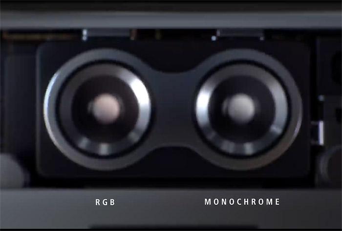컬러(RGB)와 흑백(Monochrome) 이미지 센서로 색과 빛 정보를 나눠서 담았던 P9.