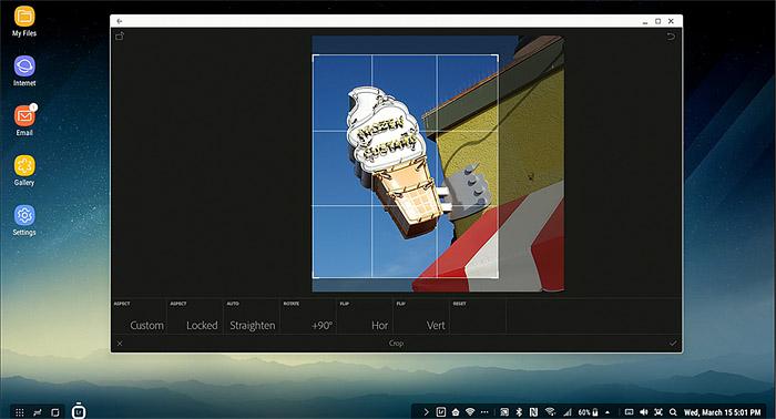 삼성 덱스에서 실행한 포토샵 익스프레스의 작업 화면